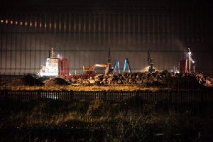 Travaux d'aménagement du port de Calais. Janvier 2018.